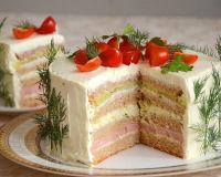 Сытный закусочный торт с ветчиной