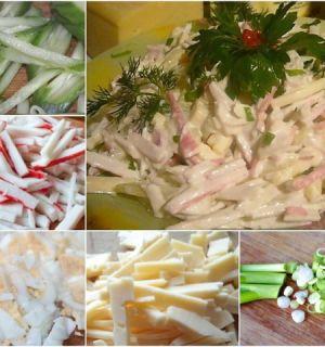Быстрый салат из крабовых палочек