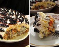 Слоеный салат с печенью, грибами и черносливом (без майонеза!)