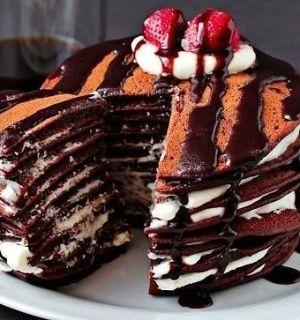 Шоколадный торт из блинчиков