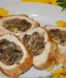 Куриные грудки фаршированные грибами