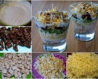 Салат с черносливом , курицей и огурчиками