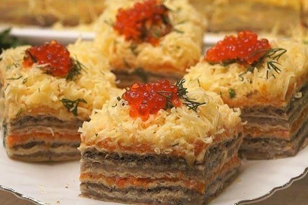 Селедочный закусочный торт