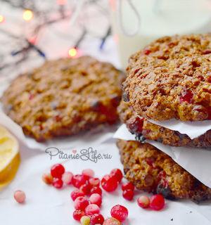 Домашнее овсяное печенье с брусникой
