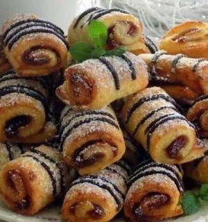 Быстрое творожное печенье- рулетики